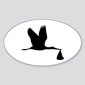 Stork - Baby Sticker (Oval)